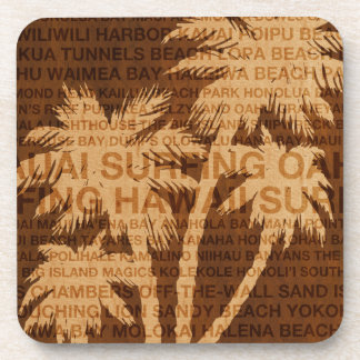 Surfing Hawaii Palm Trees Faux Wood Coasters