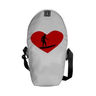 Surfing Heart Messenger Bags