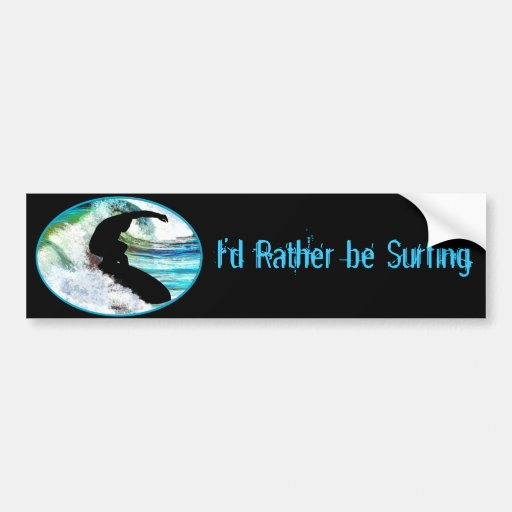 Surfing in Curling Wave Bumper Stickers