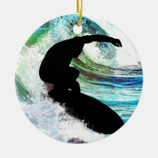 Surfing in Curling Wave Christmas Ornament