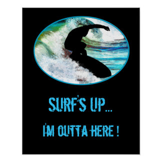 Surfing in Curling Wave Poster