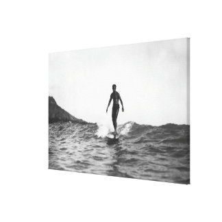 Surfing in Honolulu Hawaii Longboard Surfer Canvas Print
