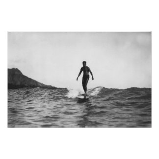 Surfing in Honolulu Hawaii Longboard Surfer Poster
