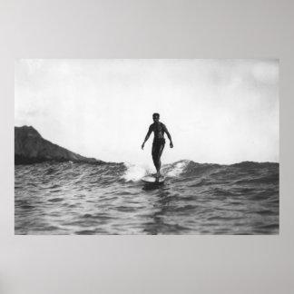Surfing in Honolulu Hawaii Longboard Surfer Poster
