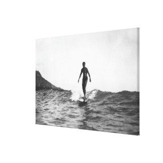 Surfing in Honolulu Hawaii Longboard Surfer Stretched Canvas Print
