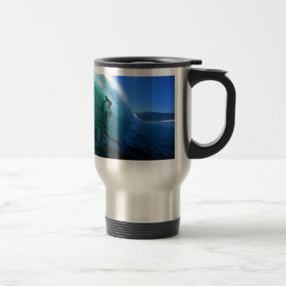 Surfing in the green tube South Africa paradise Stainless Steel Travel Mug