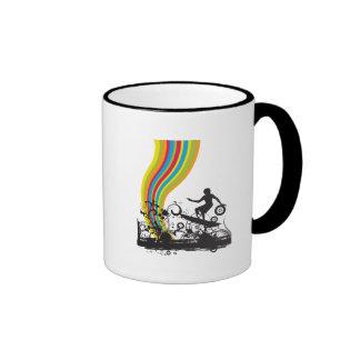 surfing into rainbows ringer mug