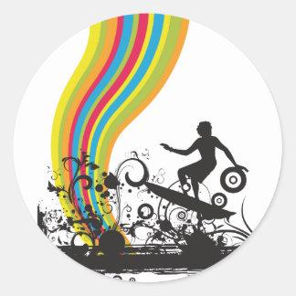 surfing into rainbows classic round sticker