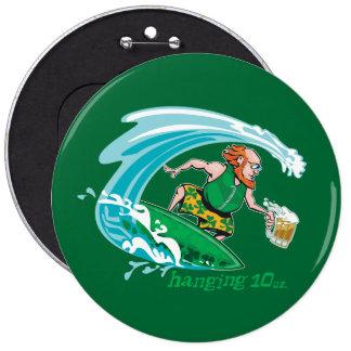 Surfing Irish Leprechaun 6 Cm Round Badge
