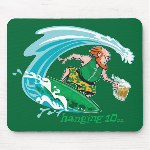 Surfing Irish Leprechaun Mouse Mats