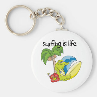 Surfing is Life Basic Round Button Key Ring