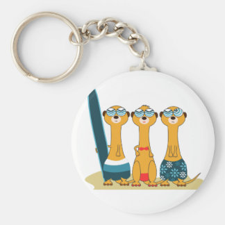 Surfing Meercats Basic Round Button Key Ring