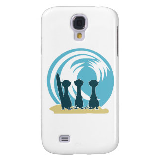 Surfing meercats cartoon watching the waves No 2 Samsung Galaxy S4 Cases