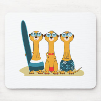 Surfing Meercats Mouse Pads
