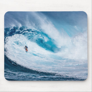 Surfing Mouse Pad Big Ocean Tunnel Wave