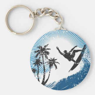 Surfing on the waves basic round button key ring