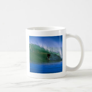 Surfing perfect green tube wave New Zealand Mugs