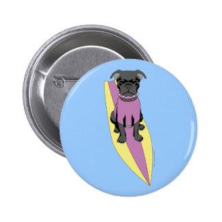 Surfing Pug Pastel Button