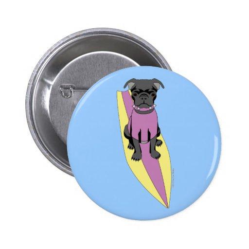 Surfing Pug (Pastel) Button