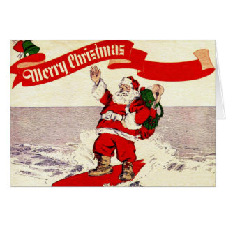 Surfing Retro Santa Greeting Card