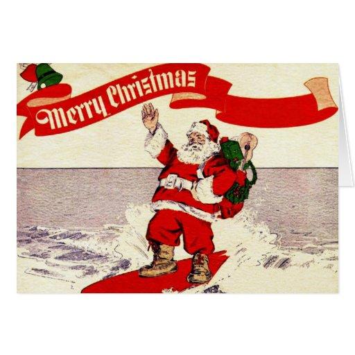 Surfing Retro Santa Greeting Card