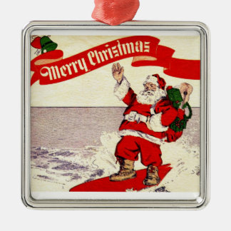 Surfing Retro Santa Ornament