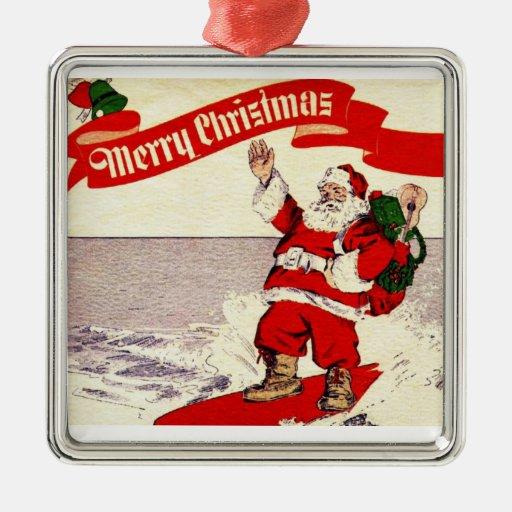 Surfing Retro Santa Ornament