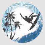 Surfing Round Sticker