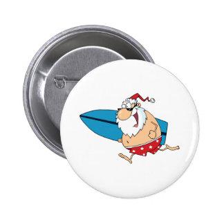 surfing santa 6 cm round badge