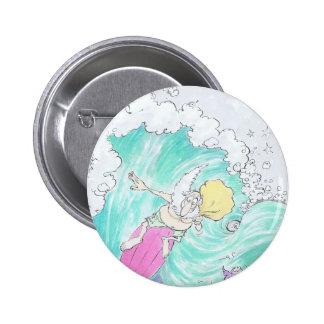 Surfing Santa. 6 Cm Round Badge