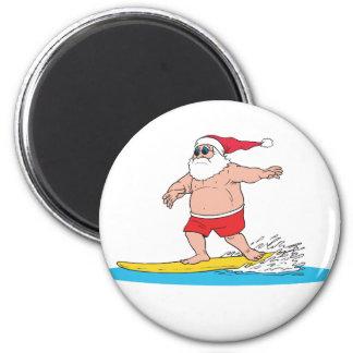 Surfing Santa 6 Cm Round Magnet