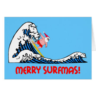 Surfing Santa Card