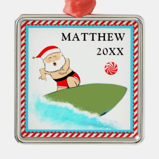 Surfing Santa Christmas Ornament