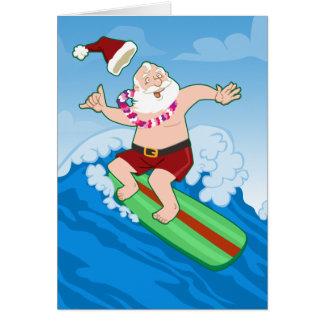 Surfing Santa Funny Christmas Greeting Card