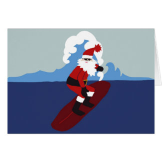 Surfing Santa-Horizontal Greeting Cards