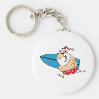 surfing santa basic round button key ring