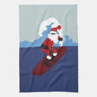 Surfing Santa Kitchen Towel