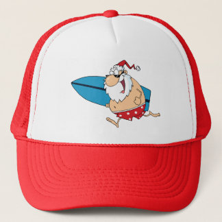 surfing santa trucker hat