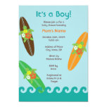 Surfing Sea Turtle Baby Shower or Birthday Invitat Personalised Announcements