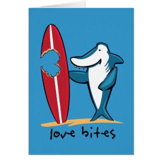 Surfing Shark Valentine Greeting Cards