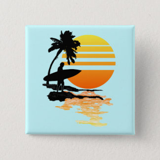 Surfing Sunrise 15 Cm Square Badge