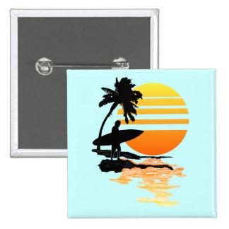 Surfing Sunrise 15 Cm Square Badge