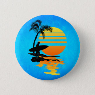 Surfing Sunrise 6 Cm Round Badge