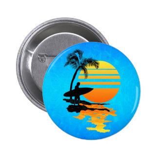 Surfing Sunrise 6 Cm Round Badge