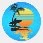 Surfing Sunrise Classic Round Sticker