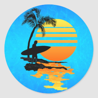 Surfing Sunrise Classic Round Sticker