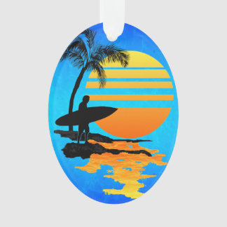 Surfing Sunrise Ornament