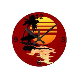 Surfing Sunrise Round Clock