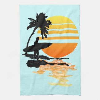 Surfing Sunrise Tea Towel