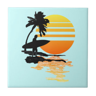 Surfing Sunrise Tile
